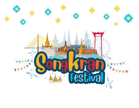 Songkran water festival thailand and Travel to Thailand. vector illustration