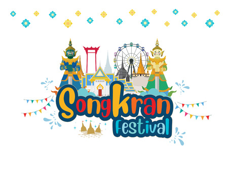 Guardian Giants in Thailand and Happy Songkran Festival is the traditional Thai New Year celebrated on April