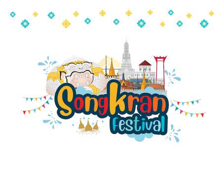 Thai New Year. songkran water festival thailand. vector illustration