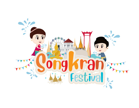 Kids Traditional costume to Songkran water festival thailand. vector illustration