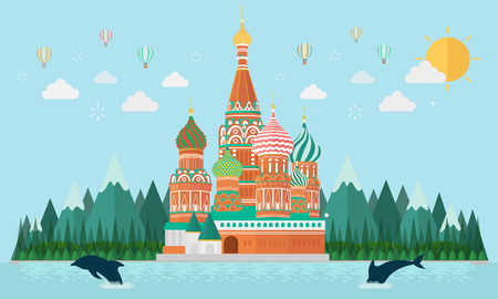 St. Basil's Cathedral on island. Vector illustration