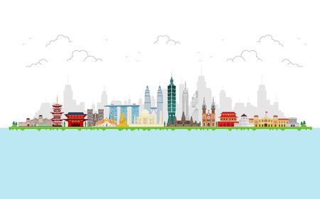 Travel to Asia. landmarks of Asia. Cityscape, buildings, attractions. Illustration