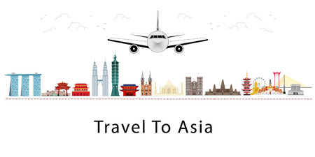 Travel to Asia. Air plane to landmarks of Asia. Cityscape, buildings, attractions. Vector Illustration