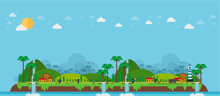 Thai farmers rice planting and Thailand, landmarks travel place, temple, background. Vector illustration