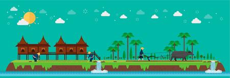 Tropical island. Asian farmers rice planting. Tropical Asia. Vector illustration