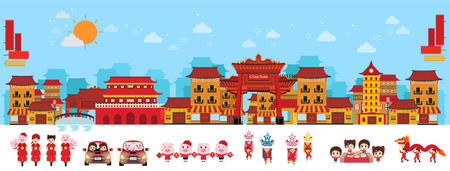 China world and Cityscape view. China town in asian and old houses. Vector illustration