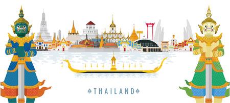Bienvenido a Tailandia y Guardian Giant, concepto de viaje de Tailandia. El Gran Palacio Dorado para visitar en Tailandia en estilo plano Ilustración de vector