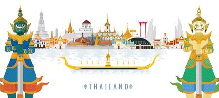 Welcome to Thailand and Guardian Giant, Thailand travel concept. The Golden Grand Palace To Visit In Thailand in flat style