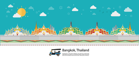 Bangkok in Thailand and Landmarks and travel place,temple, grand palace. Vector illustration Stok Fotoğraf - 126004104