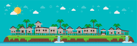 Old houses village on tropical island and blue sky. vector illustration Illustration