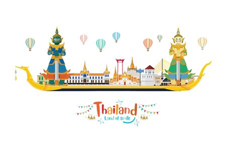 Thailand travel with landmark and travel place and Guardian Giants on The Royal Barge Suphannahong. Vector illustration Иллюстрация