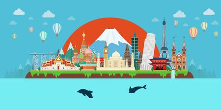 Tropical island and Travel composition with famous landmarks. Flat design