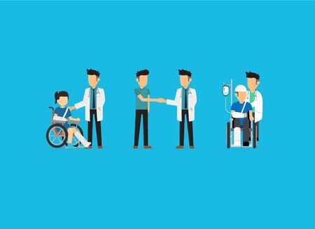 Medical doctor caring patients on blue background. Vector illustration Stok Fotoğraf - 134473721