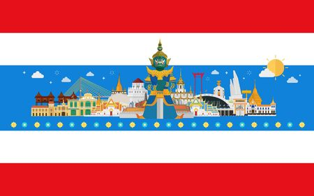 Thailand travel with landmarks on thai flag background Stok Fotoğraf - 134473729