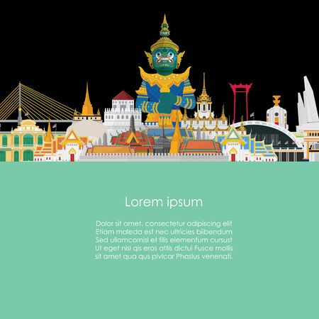 Guardian Giant in Thailand and Bangkok Grand Palace. vector illustration Stok Fotoğraf - 134473741