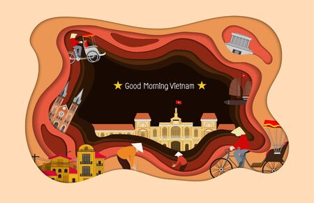 Paper art style. Vietnam Travel and Attraction, Landmarks, Tourism and Traditional Culture Illustration