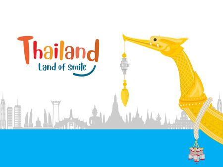 The Royal Barge Suphannahong in Thailand and Landmarks, Calendar template design Çizim