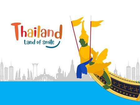 Bangkok and across Thailand. with attractions, landmark. vector illustration