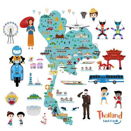 Thailand map. Thailand travel and landmarks Ilustrace