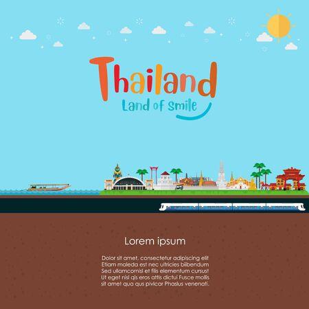 Bangkok in Thailand and Landmarks. Template design