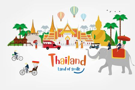 Thailand land fo smile with attractions Ilustrace
