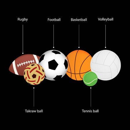 Ball sports on black background