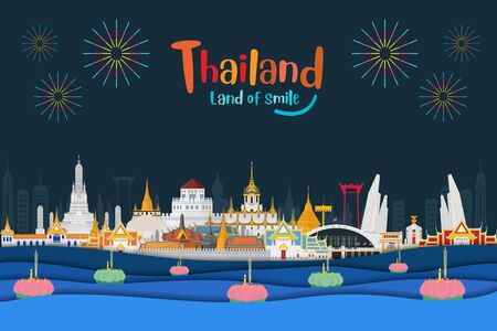 Thailand night and landmarks, Loy krathong festival on the river
