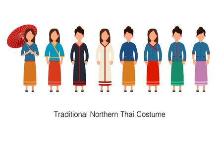 Traditional Costume Northern Thai Women. Vector illustration