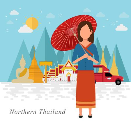 Thailand travel with Northern culture. Vector illustration Ilustrace