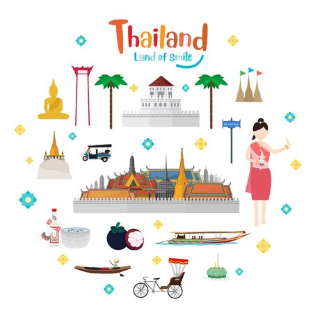 Set to Thailand. The Golden Grand Palace To Visit In Thailand Ilustrace