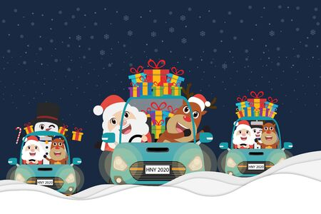 Collection car, Santa Claus, Snowman with Reindeer driving green car