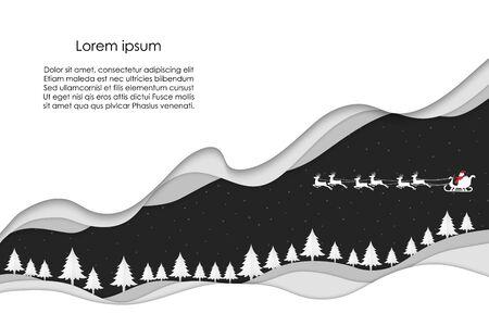 Winter landscape and Santa Claus Sledding