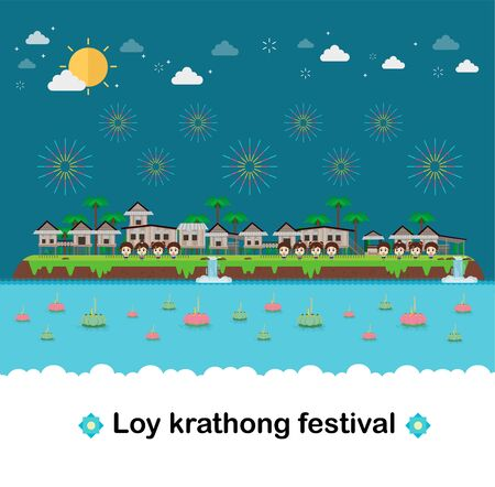 Hill houses with tropical island. paradise ocean landscape and Loy Krathong Festival
