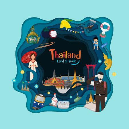 Paper art style. Thailand travel and landmarks on blue Ilustrace