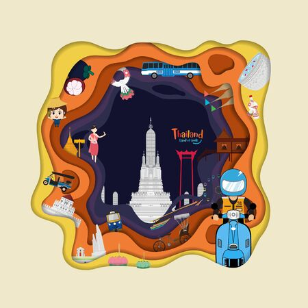 Paper art style with Thailand and Landmarks and travel. flat design