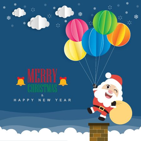 Santa Claus and colorful balloon. Merry Christmas