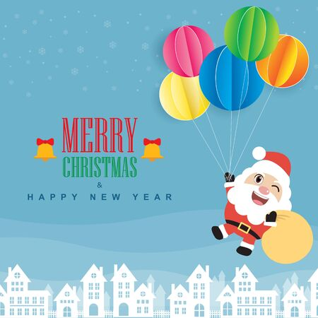 Santa Claus and colorful balloon. Merry Christmas and Happy New Year. flat design Ilustrace