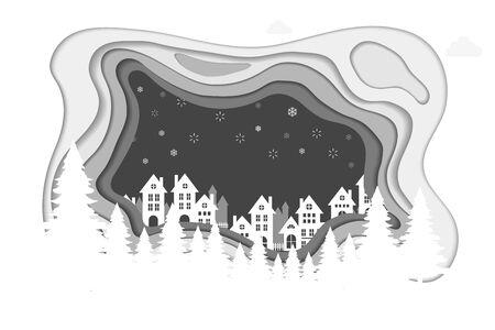 Hill house on winter. vector illustration