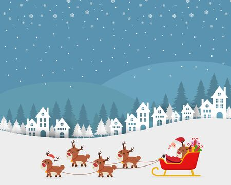 Santa riding in sledge with reindeers Ilustrace