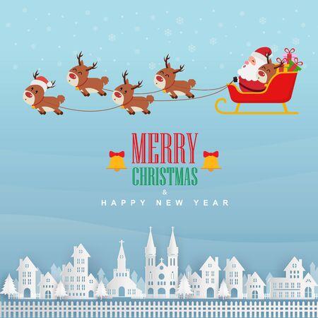 Santa Claus flying on white town. Vector illustration