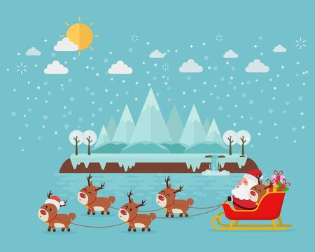 Merry Christmas and Happy New Year. Santa on a sleigh with a bag of gifts. Sledding deer. Stock Illustratie