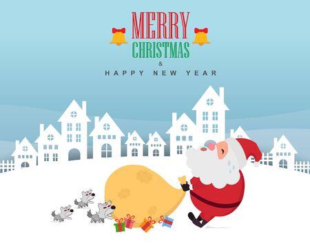 Santa claus with gifts bag. Vector illustration