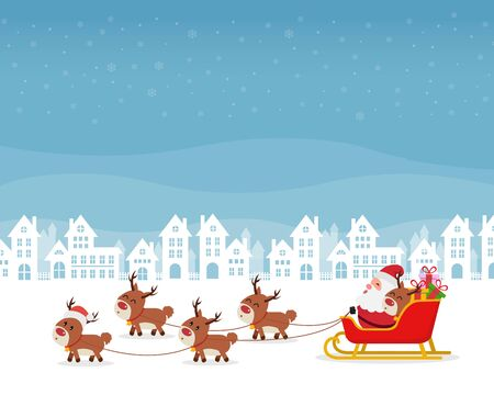 Santa riding in sledge with reindeers, merry christmas and happy new year Ilustrace