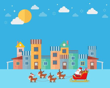 Happy Santa riding sledge to colorful town. Vector illustration
