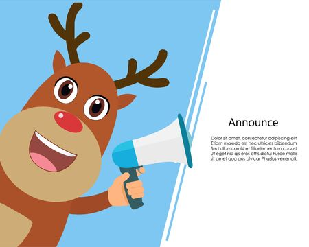 Reindeer talk announcing through a megaphone and white template background