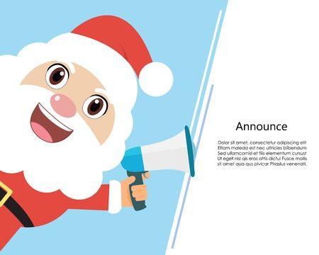 Santa claus with blue megaphone. flat design