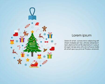 Chirstmas decorations on blue background