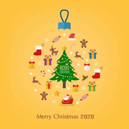 Chirstmas decorations and happy new year. Vector illustration