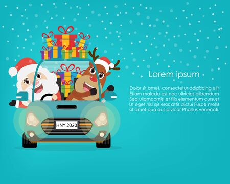 Santa claus with reindeer in winter background. Vector illustration