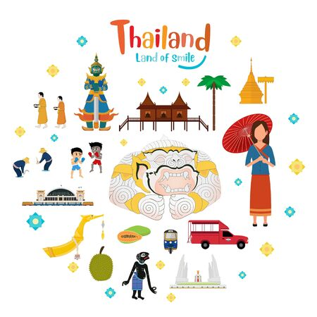 Thailand travel place, temple, grand palace. Vector illustration
